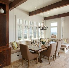 This lovely neutral dining nook was completed by Laura Kehoe Design. #luxeAZ