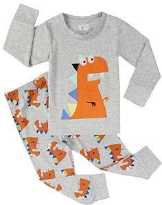 Boys Dinosaur Pajamas Cotton Kids Sleepwear Children Clothing Pants Set -- You can get more details at