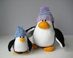 Bobble and Bubble Penguins toy knitting patterns door fluffandfuzz
