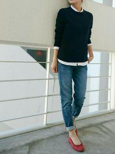 Ayaさんのシャツ・ブラウス「無印良品 オーガニックコットン洗いざらしオックスボタンダウンシャツ 婦人XS・白」を使ったコーディネート