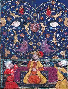 Alexandre sous l'arbre qui parle (waq-waq), artiste anonyme, miniature persane, XVIe siècle. Bibliothèque du musée de Topkapi, Istanbul.