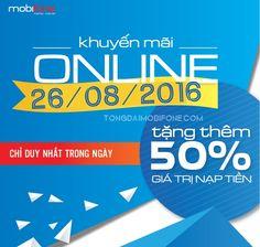 Khuyến mãi trực tuyến 50% của MobiFone ngày 26/8/2016