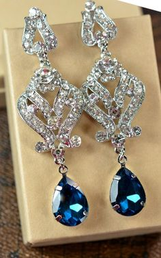 Navy bluesapphire blue Wedding Jewelry by thefabbridaljewelry, $49.99