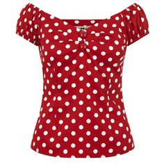 Brand New Vintage Style Red Polka Dot Fitted Top Rockabilly Vintage Clothing Styles, 50s Style Clothing, Vintage Inspired Outfits, Vintage Style Outfits, Vintage Fashion, Tops Vintage, Vintage Shirts, Polka Dot Shirt, Polka Dots
