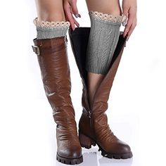 """Avidlove Women Socks Knit Crochet Boot Cuffs Hollow Out Leg Warmers with Lace Trim Light Gray - 100% Brand New Brand: Avidlove Material: Knitting Wool Consumer groups: young girls, women Package Content: 1 x Pair Leg Warmers Size Measurement: Size: One size fits most , Length--8.6"""" Width--9.8""""-17.2"""""""