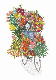Flower seller. Illustration print. bike illustration.Wall art. Home decor. Kids wall art.