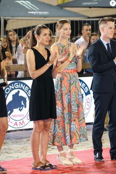Charlotte Casiraghi et Beatrice Borromeo lors de la remise des prix du Longines Pro Am Cup Monaco, du 22eme Jumping International de Monaco, et 12eme Longines Global Champions Tour of Monaco sur le port Hercule le 23 juin 2017. © Olivier Huitel / Pool restreint Monaco / Bestimage