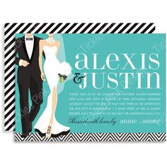 e9af9704bdeb B+W Wedding Couple - Blue Invitations by Doc Milo - Invitation Box