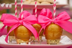 Pink Gold Princess Tea Party! Royal Candy apples by Roni's Sugar Creations. Seriously for a princess!!