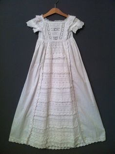 Vintage Victorian Christening Gown Pure White Cotton 1800's