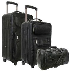 AmeriLeather Leather 3 Pc Set Traveler Black ** Details can be found by clicking on the image. 3 Piece Luggage Set, Luggage Sets, Cowhide Leather, Black Leather, Best Luggage, Homemade Black, Video Games For Kids, Nylon Bag, Zipper Pouch