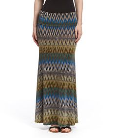 Another great find on #zulily! Brown & Blue Geometric Maxi Skirt #zulilyfinds