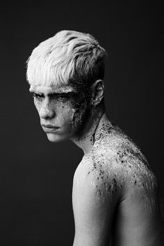 fantastic makeup, men, black and white photography