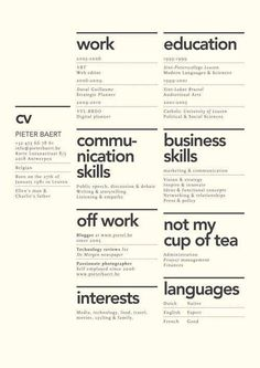 Creative layout for CV. Although the idea of 'not my cup of tea' seems u… Creative layout for CV. Although the idea of 'not my cup of tea' seems utterly… Minimalist Graphic Design, Graphic Design Resume, Resume Design Template, Freelance Graphic Design, Cv Template, Resume Templates, Creative Resume Design, Resume Layout, Resume Format