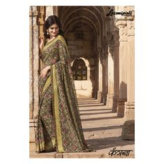 Mehendi green and Pink Color Georgette Designer Wear Sarees : Voilla Collection Beige Color, Pink Color, Colour, Laxmipati Sarees, Saree Shopping, Printed Sarees, Anarkali Suits, Wedding Wear, Online Shopping Stores