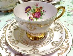 Tuscan Fine Bone China Trio Tea Cup Saucer Side Plate Pink Gold Floral Shabby
