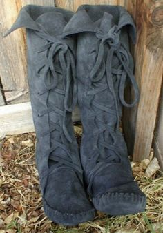 Charcoal gray Earthgarden moccasin knee high Elf Boots....in buckskin Indian moccasins for AC3 cosplay