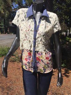 Gimmicks BKE Med Lace Floral Button Down Collar Med Mint | eBay