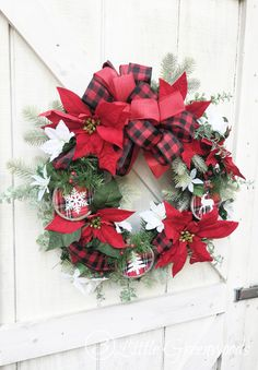 Christmas Wreath with Red Buffalo Check Bow for Front Door is perfect for Holiday Decorating! Looking to add some fabulous-ness to your Christmas Front Door? Then you will love this Rustic Christmas Wreath! Outdoor Christmas Wreaths, Outside Christmas Decorations, Diy Christmas Garland, Christmas Wreaths For Front Door, Outdoor Christmas Decorations, Rustic Christmas, Christmas Ideas, Holiday Decorating, Porch Decorating
