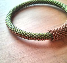 Olive Green and Bronze Beaded Bangle Beaded by ElizabethMDJewelry, $45.77