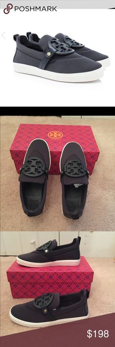 🆕 Tory Burch Miller neoprene medallion sneakers 💯% authentic Tory Burch Miller neoprene sneaker with leather logo medallion NIB slip on style Tory Navy neoprene upper leather trim rubber soles never been worn Tory Burch Shoes Sneakers