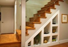 Under Stair Storage Design Ideas, Pictures, Remodel and Decor Staircase Shelves, Basement Staircase, Open Staircase, Staircase Design, Staircase Ideas, Wall Shelves, Staircase Remodel, Stair Design, Banister Ideas
