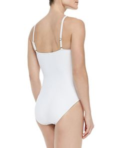 T97XW La Blanca Sheer-Inset One-Piece Swimsuit