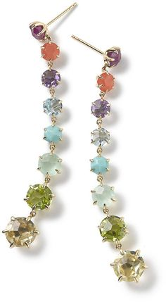 Ippolita earrings from the Rock Candy® Collection.18-karat yellow gold.Summer rainbow colorway stones: composite ruby, orange carnelian, dark amethyst, blue topaz, turquoise, mint chrysoprase, peridot, and lemon citrine.