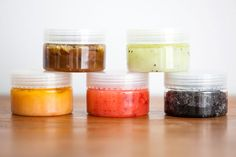 Homemade face scrub mad out of sugar, oil of your choice, fruit or veggie of your choice, and a container the site tell you what each oil and veggie or fruit do for your skin