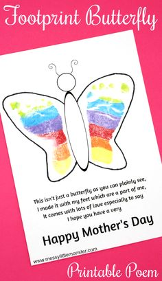 Footprint Butterfly Poem - Printable Mother's Day Card