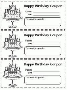 Free Printable Birthday Coupons | Primary ideas | Birthday ...