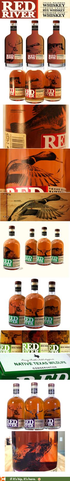 Red River's American Whiskey, Rye Whiskey and Canadian Whiskey have silk-screened bottles with various wildlife and a portion of the proceeds from each bottle goes to wildlife conservation. Branding and design by One Fast Buffalo.