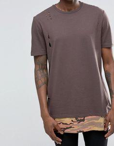 Image 3 ofASOS Super Longline T-Shirt With Distressing And Camo Print Hem…