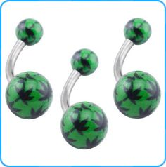 BR01307 Wholesale Body Jewelry Surgical Steel Belly Button Navel Rings With Two Green Balls