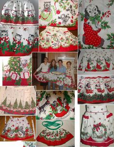 Retro Sewing Fabulous Christmas aprons made with vintage border prints (also used to make curtains and pillowcases). The kitties opening their Christmas gifts is my absolute favorite. Christmas Aprons, Christmas Table Cloth, Christmas Sewing, Christmas Past, Retro Christmas, Vintage Holiday, Christmas Crafts, Christmas Things, Christmas Images