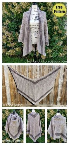 Grand Canyon Shawl Free Crochet Pattern - - Have you ever crocheted a V-shaped shawl? The Grand Canyon Shawl Free Crochet Pattern is the perfect accessory for your wardrobe or to give as a gift. Cardigan Au Crochet, Crochet Shawl Free, Pull Crochet, Crochet Wrap Pattern, Crochet Shawls And Wraps, Crochet Scarves, Crochet Clothes, Knit Crochet, Crochet Patterns