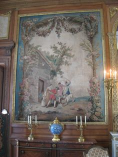"""""""Fables de La Fontaine"""" (circa an Aubusson tapestry designed by Jean-Baptiste Oudry, now in the Musée Nissim de Camondo, Paris. Tapestry Bedroom, Tapestry Fabric, Tapestry Design, Tapestry Wall, Old World Style, Old World Charm, Limousin, Decoration, Art Decor"""