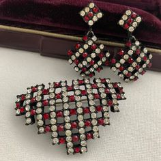 White Earrings, Clip On Earrings, Vintage Rhinestone, Vintage Brooches, Pentagon Shape, Makers Mark, Beautiful Necklaces, Earring Set, Rhinestones