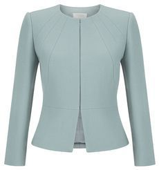 Hobbs - Aphra Jacket in Cameo Green. Reduced to from Looks very chic plus is high necked so would keep you warm. Collarless Jacket, Peplum Jacket, Peplum Blazer, Blazer Jackets For Women, Coats For Women, Look Fashion, Fashion Outfits, Smart Jackets, Blazer And Shorts