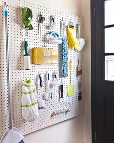 Pegboard: it's not just for garages anymore! Pegboard is endlessly useful, and can help you solve just about any of your most vexing organizing problems. Check out these 12 genius ideas for using pegboard to get organized! Small Laundry Rooms, Laundry Room Organization, Laundry Room Design, Laundry Storage, Garage Laundry, Clothing Organization, Basement Laundry, Car Garage, Small Shelves