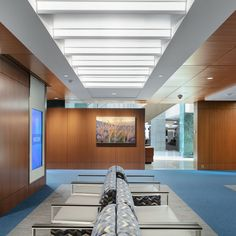 Mayo Clinic's ceiling fins provide light as well as SoundPly acoustic treatment for the Hall of Benefactors. Additionally, Mayo Clinic opted for non-acoustic wood panels from Navy Island for the walls of this gorgeous hall.