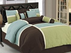 Amazon.com - 7-pieces Aqua Blue Sage Green Coffee Quilted Patchwork Comforter Set Queen Size - Bedding Queen Size