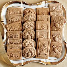 When imprinting the fragrant spiced cookie dough with springerle molds, stop frequently to clean the patterns with the tip of a skewer. This allows for a better impression in the dough and resulting cookie. Recipe: Speculaas Cookies