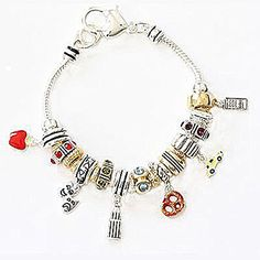 "Chunky New York City Sky Scraper Apple Taxi Theater Mask Rhinestone Charm Bracelet, 8+.25"" Ext."