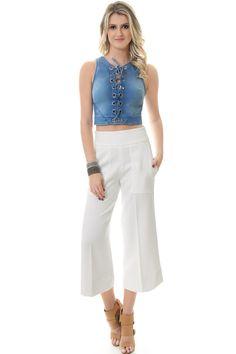 Blusa Cropped Jeans com Ilhós - lojacaos