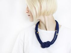 Blue & Gold  Knotted cord necklace in navy with von ChezKristel, €29.90