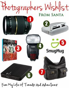 Photographers Wish List: Perfect ideas for the the photography loving person in your life.  Affordable ideas in every price range too.  | #GiftGuide #Photography #WishList #StockingStuffers #