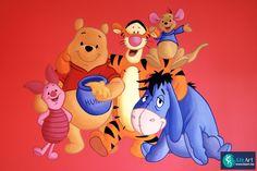 Muurschildering kinderkamer met Pooh, knorretje, Teigetje, Iejoor en Roe de kangoeroe. on Lizart http://lizart.be/wp-content/uploads/muurschilderingen-winnie-de-pooh-figuurtjes/muurschildering-pooh-vriendjes.JPG