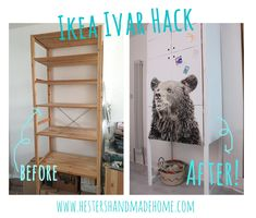 Ikea Ivar hack, give a plain bookcase some style with plywood doors and wallpaper. Tutorial by Hesters Handmade Home