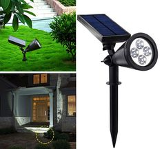 With settings to automatically trigger the LED at night and a solar panel to charge the battery pack, solar spotlights offer the easiest and most eco-friendly way to highlight the best parts of your garden at night. Solar Spot Lights Outdoor, Solar Lights, Outdoor Lighting, Outdoor Decor, Home Lighting Design, Luxury Lighting, Unique Lighting, Solar Powered Spotlight, Solar Lamp
